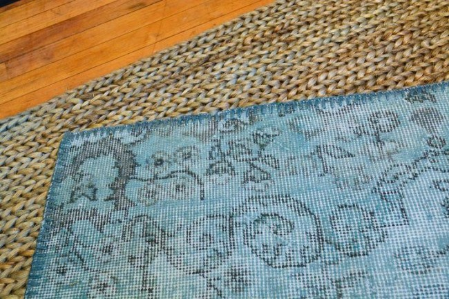 Jute Woven Mat with Turkish Overdyed Rug