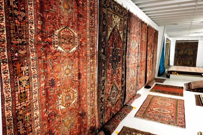 rugs hanging on wall