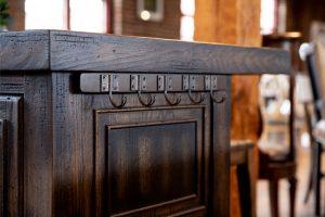 Hooker wooden bar island iron coat hook detail