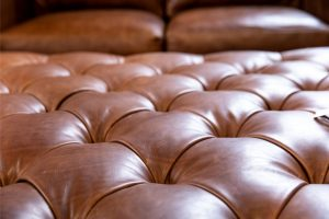 Hancock and Moore American made tufted leather Ottoman
