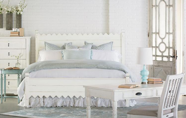 magnolia farm farmhouse bedroom with bed and desk