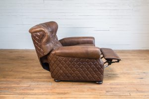 brown leather recliner from the side