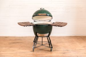 Big Green Egg Grill Open with side tables up