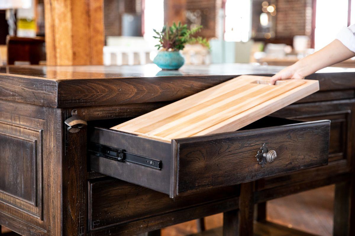 Hooker kitchen island hidden cutting board