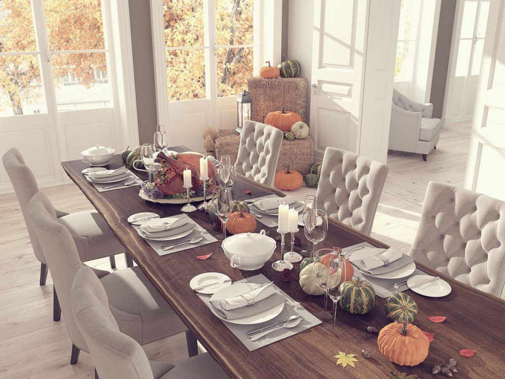 Green Front Northern Virginia dining room with fall decor